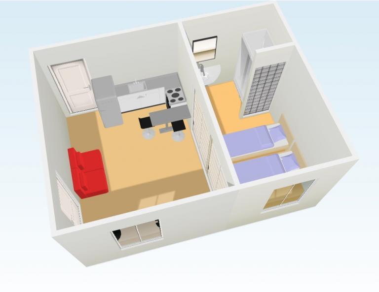 transformation d 39 un petit 2 pieces en studio. Black Bedroom Furniture Sets. Home Design Ideas