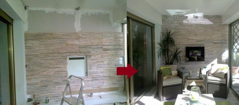 Terrasse : création d'un mur en pierre